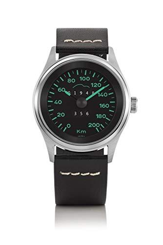 Bergmann Tachometer Uhr Porsche 356 Pre A Modell 2 Tacho 04 schwarzes Glattleder-Armband