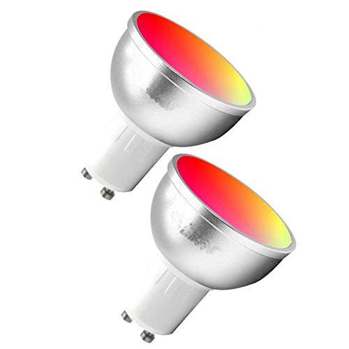 YSSMAO WiFi Smart LED Light Bulbs GU10 APLICACIÓN Pendiente Pendiente Cambio de Control Remoto Regulable Compatible con Alexa Google Home Assistant 2pcs,RGB Cool White 6000k