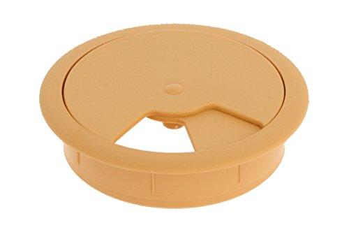 MS Beschläge® Kabeldurchlass Kabelkanal Hellbraun aus Kunststoff mit Durchmesser 60mm (2)