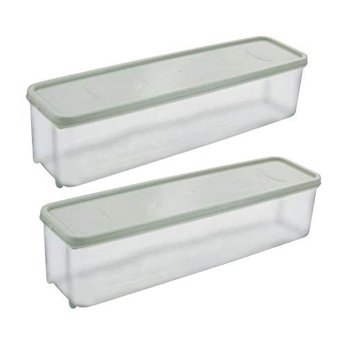 Pasta Box Spaghetti Noodles - Recipiente de plástico para frigorífico o cocina con tapa de bloqueo (2 unidades) verde