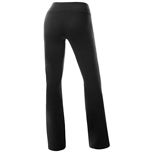 FITTOO Women Casual Boot Cut Yoga Pants Ladies Stretch Softy Trousers Pilates Workout Gym leggings,Black,Small