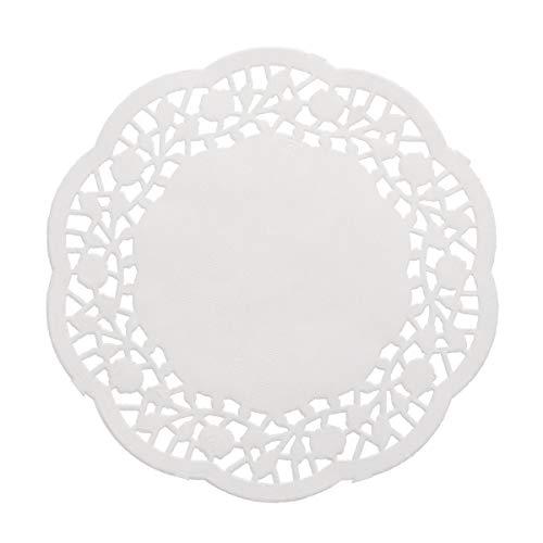 OUNONA - 100 Piezas Desechables de Papel de Encaje de Color Blanco Que absorben el Aceite, Almohadilla de Papel de Embalaje para Tarta de 14 cm