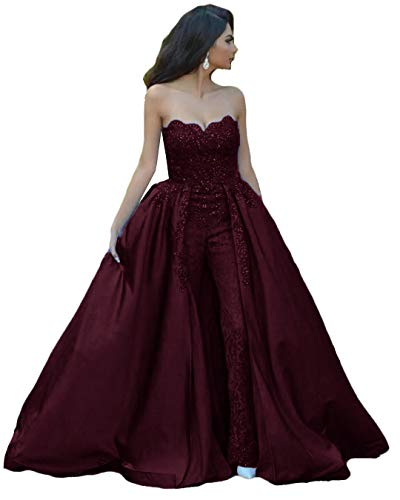Burgundy Jumpsuits Lace Prom Dresses Strapless Beaded Overskirt Formal Evening Gown Appliqued Formal Dress US20