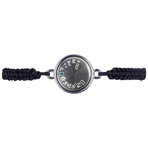 Mylery Armband mit Motiv Digital-Kamera DSLR Einstell-Rad Symbole Silber 16mm