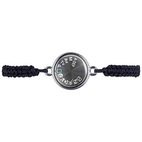 Mylery - Bracciale con motivo fotocamera digitale DSLR, con simboli argento o bronzo, 16 mm e base metal, colore: argento, cod. ml_000295_009_a