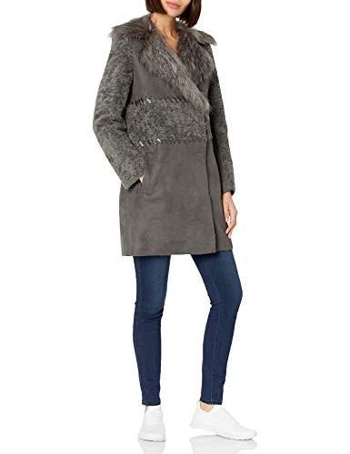 Elie Tahari Women's Veronica Shearling Faux Fur Coat, Grey Combo, XS