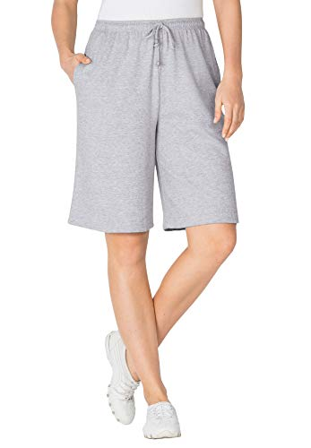 Woman Within Women's Plus Size Sport Knit Short - 4X, Heather Grey