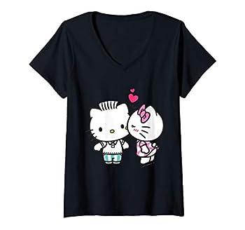 Womens Hello Kitty and Dear Daniel Valentine V-Neck T-Shirt