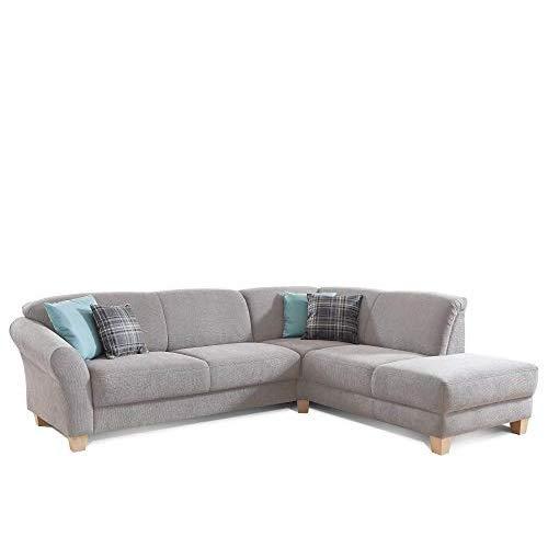 CAVADORE Ecksofa Gootlaand mit Ottomane rechts / Große Couch im Landhausstil / Inkl. Vorziehfunktion und Bettkasten / Mit Federkern / 257 x 84 x 212 / Hellgrau