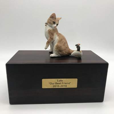 L.TSA Pet Coffin, Custom Dog/Cat Figurine Cremation Urn Caja de cremación de Animales/enterrada Decorativa, de Madera, Tipo múltiple, E