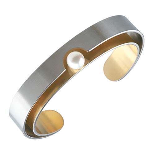 Ernstes Design Armreif A49 m Perle Edelstahl matt vergoldet Perlen