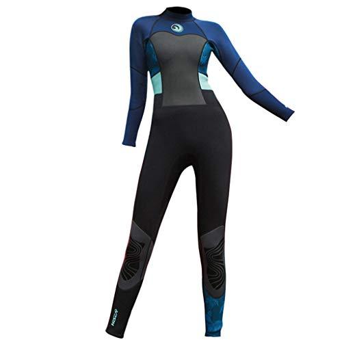 AIni Damen Neoprenanzug,Sport 1.5mm Tauchanzug Ganzkörper Tauchanzug Surf Schwimmoverall Wetsuit Schwimmen Surfanzug Surfen Tauchen Schnorcheln(M,Marine)