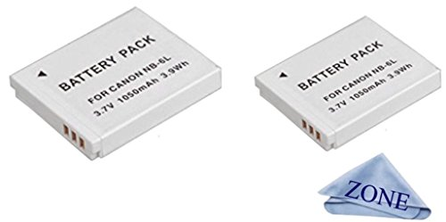 NB-6L / NB-6LH High-Capacity Replacement Batteries for Select Canon PowerShot Digital Cameras S120, SX510 HS, SX280 HS, SX500 is, SX700, D20, S90, D30, ELPH 500, SX270, SX240, SX520 Cameras Pack of 2