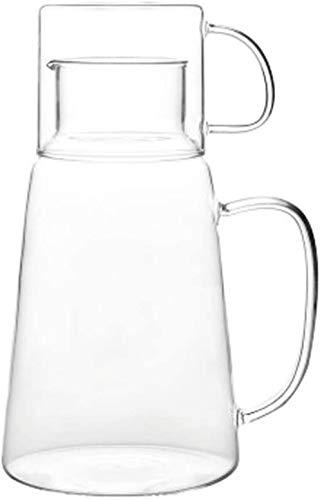 Juego de tetera de cristal de 1200 ml, resistente al calor, jarra de borosilicato hecha a mano