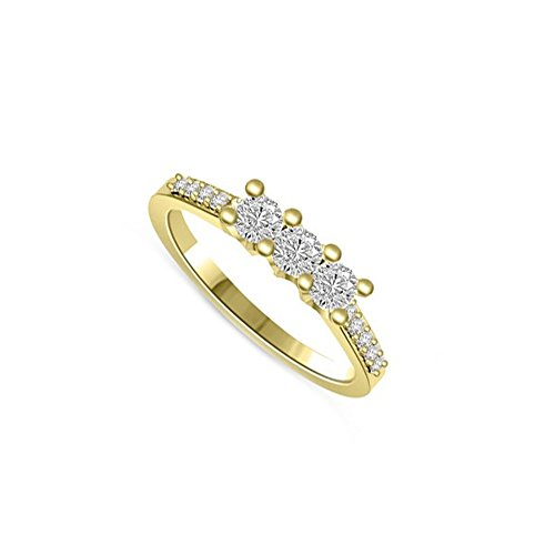 0.40ct H/SI1 Diamante Trilogy Anello da Donna con Rotonda Brillante diamanti in 18kt Oro giallo
