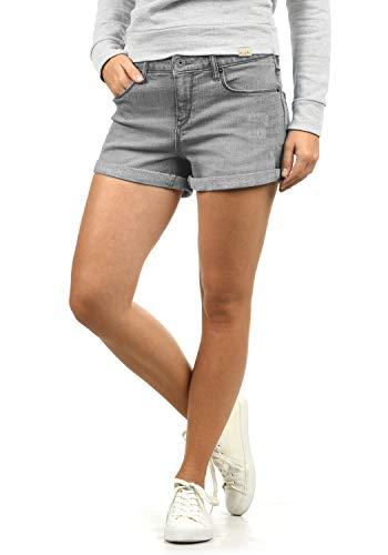 BlendShe Andreja Damen Jeans Shorts Kurze Denim Hose Mit Destroyed-Optik Aus Stretch-Material Skinny Fit, Größe:M, Farbe:Grey Denim (29047)