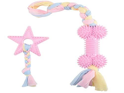 Anlising 2pcs Kauspielzeug Hund Welpen Greiflinge Hunde Spielzeug Set Interaktives Kauspielzeug Zahnreinigung Spielzeug Seil Geeignet für kleine und mittlere Hunde (Pink)