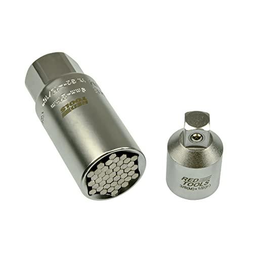 """Red Tools Universal Nuss 9-21 mm 3/8\"""" Zoll mit Adapter 1/2\"""" Zoll auf 3/8 Zoll - Multifunktions-Handwerkzeug - Steckschlüssel-Einsatz - Multinuss"""