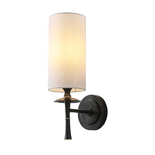 YLCJ Moderne wandlamp van koper, stijlvolle klassieke deluxe bedlamp, wandlamp met stoffen kap E14-fitting voor slaapkamer, woonkamer, caf? ? s Hotelhal messing