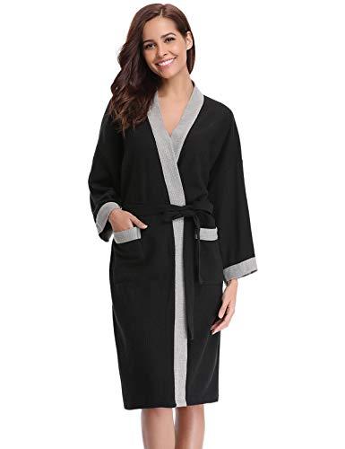 Abollria Damen Bademantel Baumwolle Morgenmantel Frauen Hausmantel Waffel V Ausschnitt Sauna Frottee Leicht Mantel Kimono Klassische Herbst Robe Nightwearmit Taschen