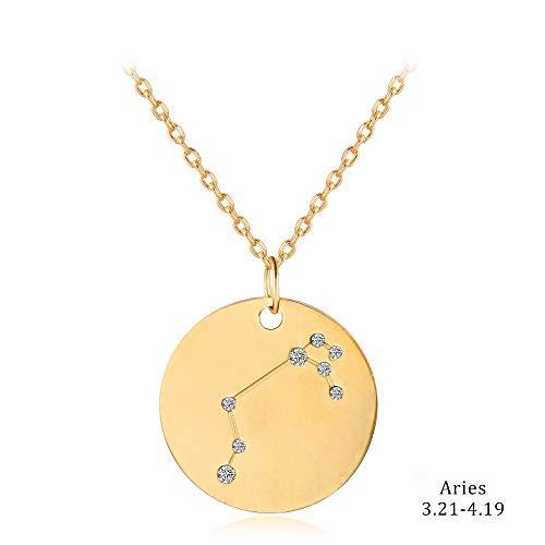 DDDDMMMY Halskette, Widderschilder, Sternzeichen Horoskop Astrologie 12 Sternbild Strass Halskette Scheibe Edelstahl Galaxy Halskette für Frauen