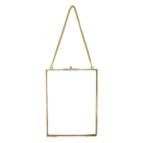 POFET Wandbehang Messing Glas Artwork Zertifikat Foto Bild Display Rahmen Geometrische Ornament Pflanze Probe Clip Modern Vertical Decor Card Hold 15.2x20.3cm / 8