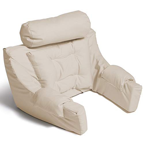 Hermell Deluxe Extra Firm Bed Lounger Reading Pillow Cream