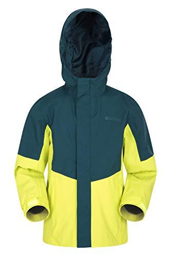 Mountain Warehouse Meteor wasserdichte Kinder-Regenjacke – atmungsaktiv, verstellbare Ärmelbündchen, kuscheliger Mantel – für Sport, Fitnessstudio, Camping, Wandern Limette 9-10 Jahre