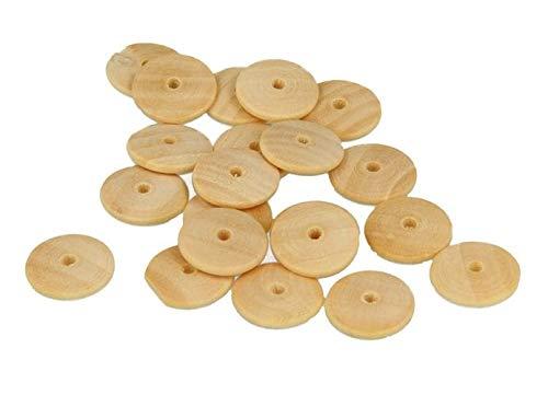 Artemio 21005024 Set met 35 platte parels, rond, voor het decoreren, hout, beige, 9 x 1,5 x 13 cm