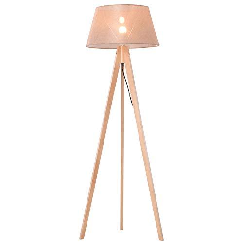 HOMCOM Stehlampe Tripod Schlafzimmer Standleuchte Stehleuchte 40 W Skandinavisch Holz + Leinen natur + beige 52 x 52 x 146 cm