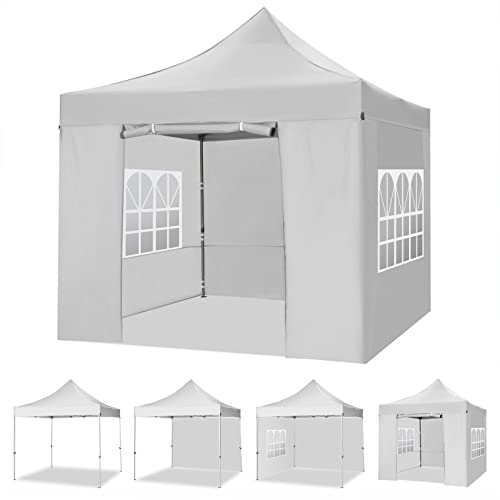 YUEBO Faltpavillon 3x3 m Wasserdicht mit 4 Seitenteilen Pop Up Pavillon Faltbar Gartenpavillon UV-Schutz Faltzelt Pagodenzelt für Garten,Camping,Festival