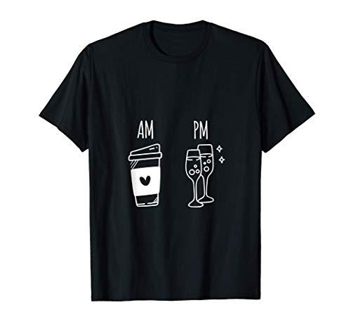 AM PM Antes de Después Mediodía Café Champán Alcohol Regalo Camiseta