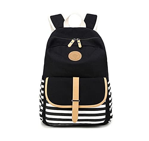 BLUBOON Tela Zaino Casual Scuola Zaini Donna Ragazza Canvas Backpack Zainetto 3 in 1 (Strisce nero)