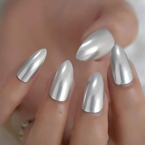 TJJL Faux ongles Stiletto Medium Metal Nails Argent Mat Sharp Sharp Chrome Faux Ongles Polissage Artificiel Nail Art Conseils