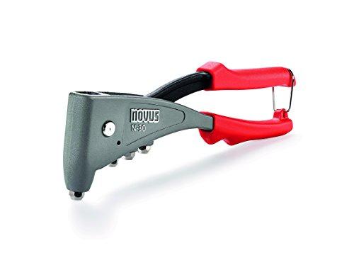 Novus Blindnietzange N-30, ergonomische Profi-Nietzange, Nietenzange mit 1-Hand-Bedienung, Aluminium, Stahl