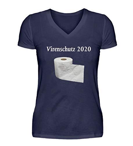 Generisch VirProtect 2020 - Maglietta da donna con collo a V blu scuro M