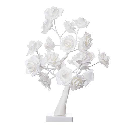 Janly Clearance Sale Decoración & Hangs, Led Rose Tree Luz Día de San Valentín Confesión Decorar Niña Habitación Decorar, Para Navidad Hogar Y Jardín Decorar, (Blanco)