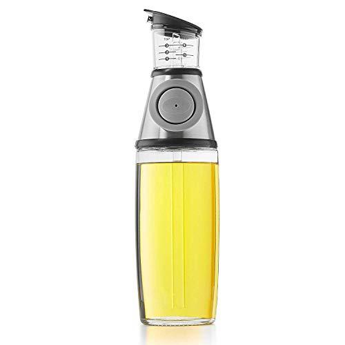 A|M|I|N|A Ölflasche mit Ausgießer 500 ml - Push Dosierer für 10 und 20 ml | Essig und Öl Spender aus Glas | Auslaufsicher und Spülmaschinenfest