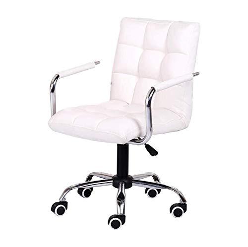 ZXN RTU Relax - Silla ergonómica para computadora de oficina o computadora, altura ajustable, de cuero, apoyabrazos fijos para oficina, sala de reuniones (color: blanco)