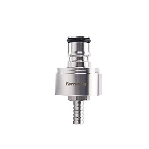 FERRODAY Stainless Steel Carbonation Cap Counter Pressure Bottle Filling 5/16 Barb CO2 Coupling to Carbonate Soda Beer Water Stainless Steel PET Bottle Filling Carbonation Cap & O-ring + Flat Gasket