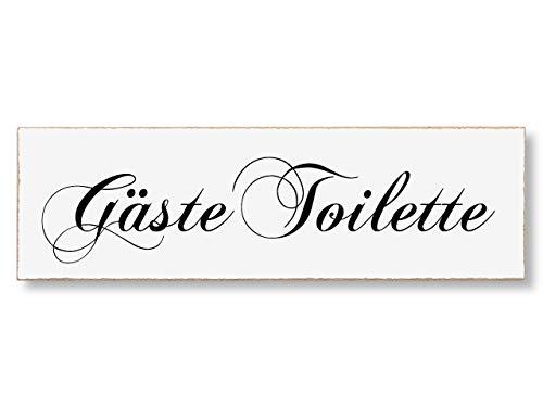 Interluxe MDF Türschild Gäste-Toilette 200x60mm WC-Schild im Retro oder Vintage-Stil, selbstklebend für Toilette, WC, Bad oder Gästebad
