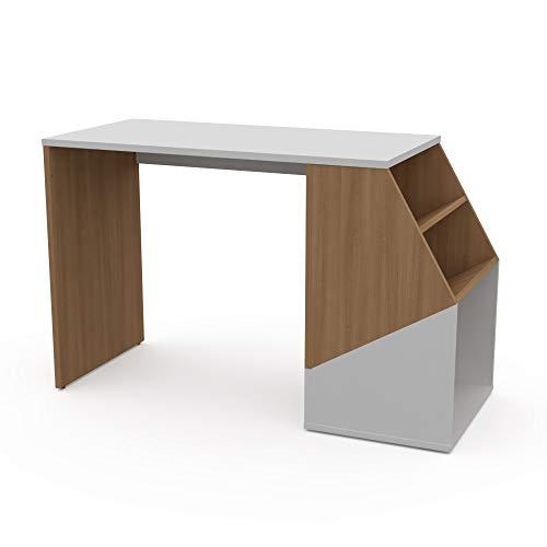 LEVIRA – Mesa con estantería, Mesa de Oficina, Escritorio, Isonzo - 120 x 74 - Cerezo Choco y Blanco