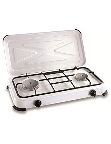Kemper Camping Cooker 2 Gas Burner 30mbar, Mixte Adulte, Blanc, 580X90X330