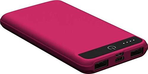 IconBit FT-0103G powerbank met 10.000 mAh, zaklamp, Type-C en Micro USB-ingang, compact design roze