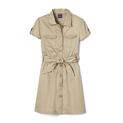 French Toast Little Girls' Twill Safari Shirtdress, Khaki, 6X
