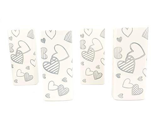 4PZ Umidificatori ambiente in ceramica per termosifoni con cuori bianchi e grigi | Stile shabby chic vintage | umidificatore termosifone radiatore riscaldamento