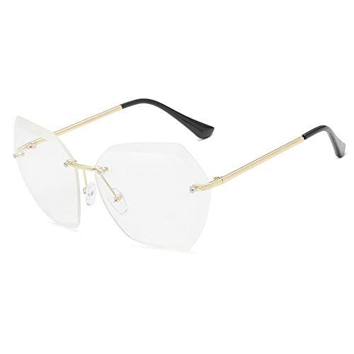 WHSS Gafas de Sol Gafas de Sol de Playa Gafas de Sol Ocean Piece Gafas de Sol sin Marco Mujeres Retro Visera Metal - Blanco