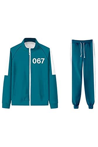 Lofeery Disfraz de Squid Game Cosplay 067, chndal para Halloween, traje de combate, camiseta SAE Byeok 067/456/001/240