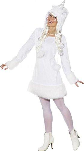 narrenkiste O9904-46-48 weiß Sexy Damen Einhorn Kleid Kostüm Gr.46-48