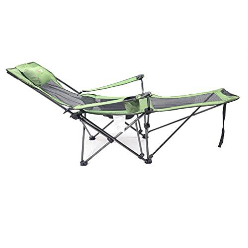 GQFGYYL Silla de Camping con ReposapiéS, Sillas de Exterior Plegables para CéSped PortáTiles Resistentes con SillóN con Portavasos, Almohada Y Bolsa de Transporte